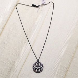 NWT Coach Pave Signature Disk Necklace—Black/Clear